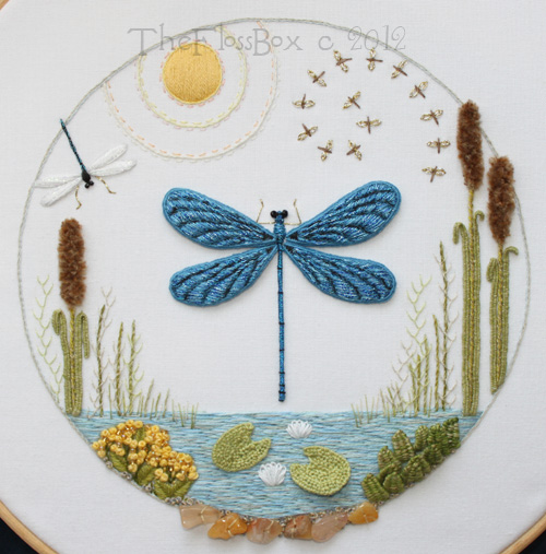 The Floss Box Dragonfly Stumpwork Embroidery