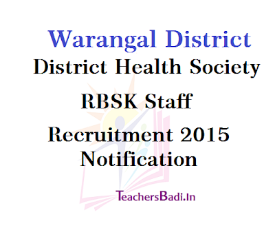Warangal,RBSK Staff Recruitment, District Health Society