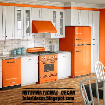 Contemporary orange kitchen cabinets designs 2015, orange and white kitchen