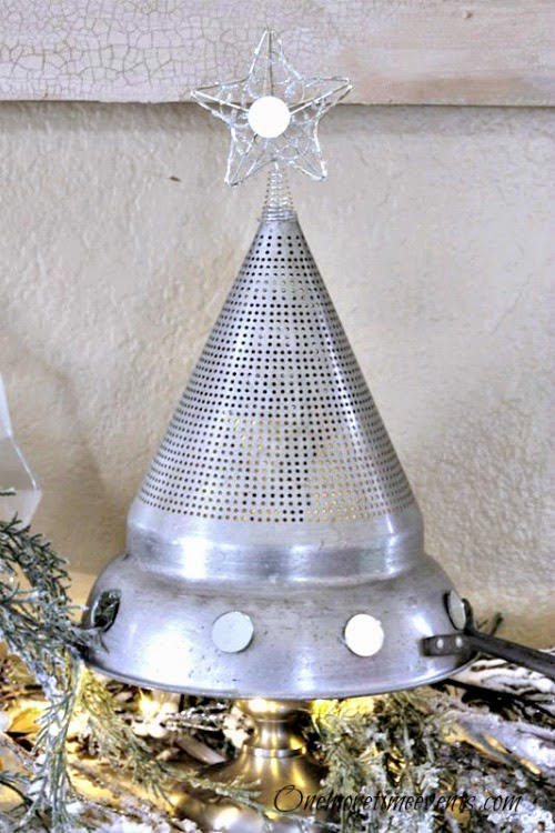 Vintage Strainer decorated into a Christmas Tree at One More Time Events.com