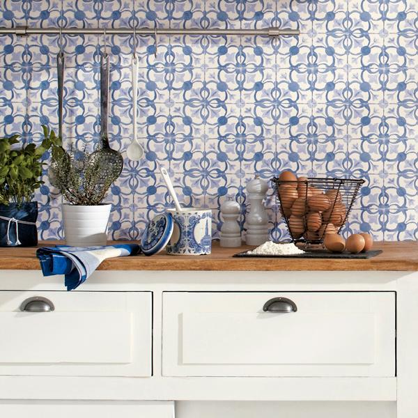 Papel pintado papel pintado cavaillon cocinas - Papel pintado sobre azulejos ...