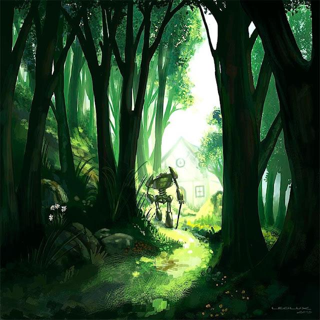 leolux, robot, bosque, paisaje, ciencia ficccion