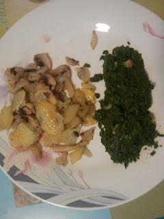 Imagen de la Receta de champiñones, patatas y espinacas