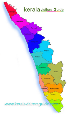 kerala tourist map with districts