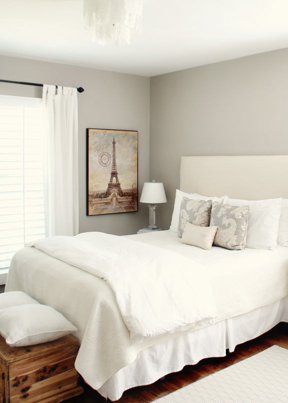 "before & after bedroom makeover (paint color: Sherwin Williams ""Amazing Gray"")"