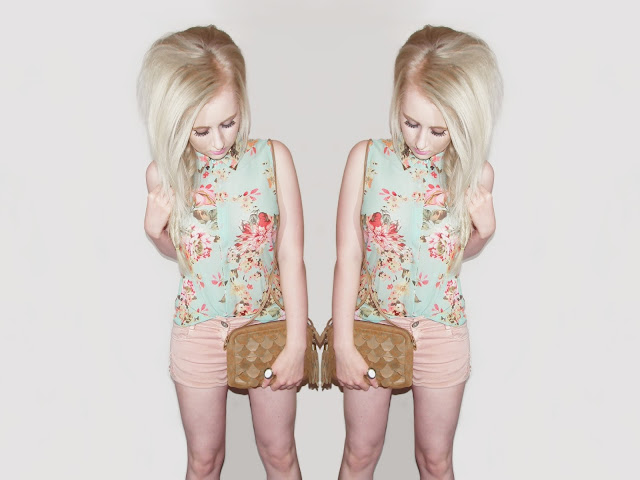 Sammi Jackson - Romwe Floral Blouse with Metal Collar Tips
