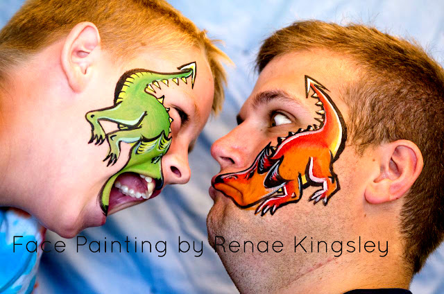 face paint dragons, funny face paint, clever face paint, unique face paint, painted dragon, dragon body art