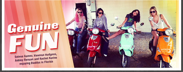 Selena Gomez, Vanessa Hudgens and Ashley Benson On Scooters . The four Spring Breakers girls