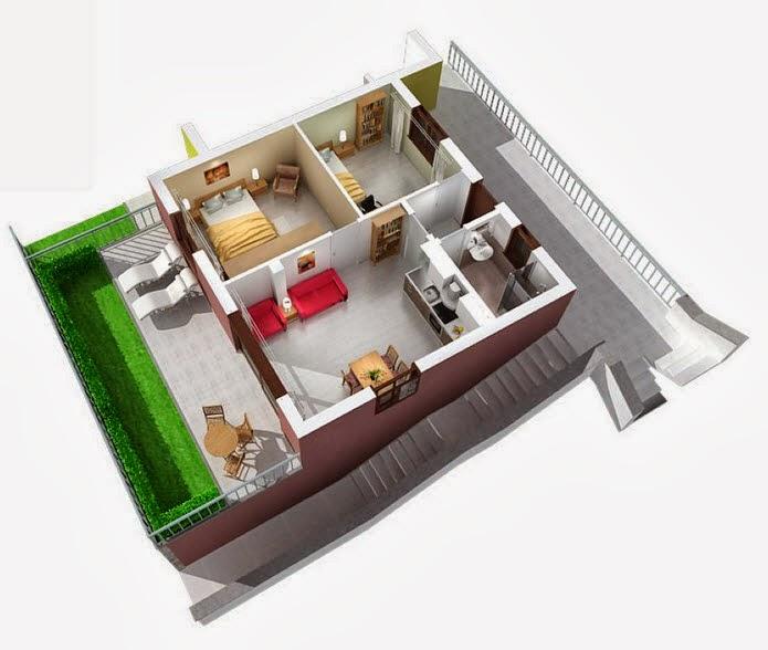 Departamentos peque os planos y dise o en 3d construye - Como hacer planos de casas en 3d ...