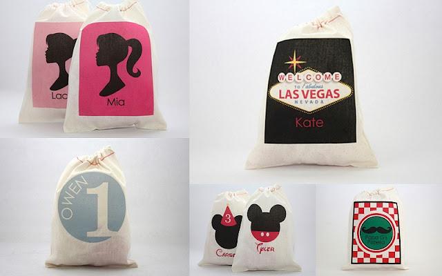Paper Nook drawstring favor bag collage