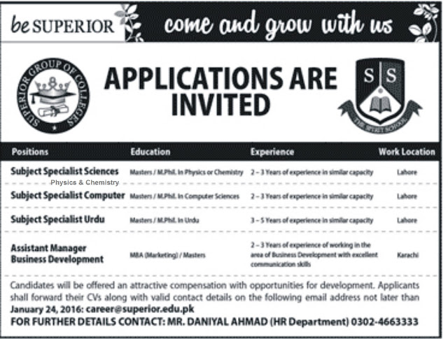 Teachers Jobs at Superior Group of Colleges Lahore
