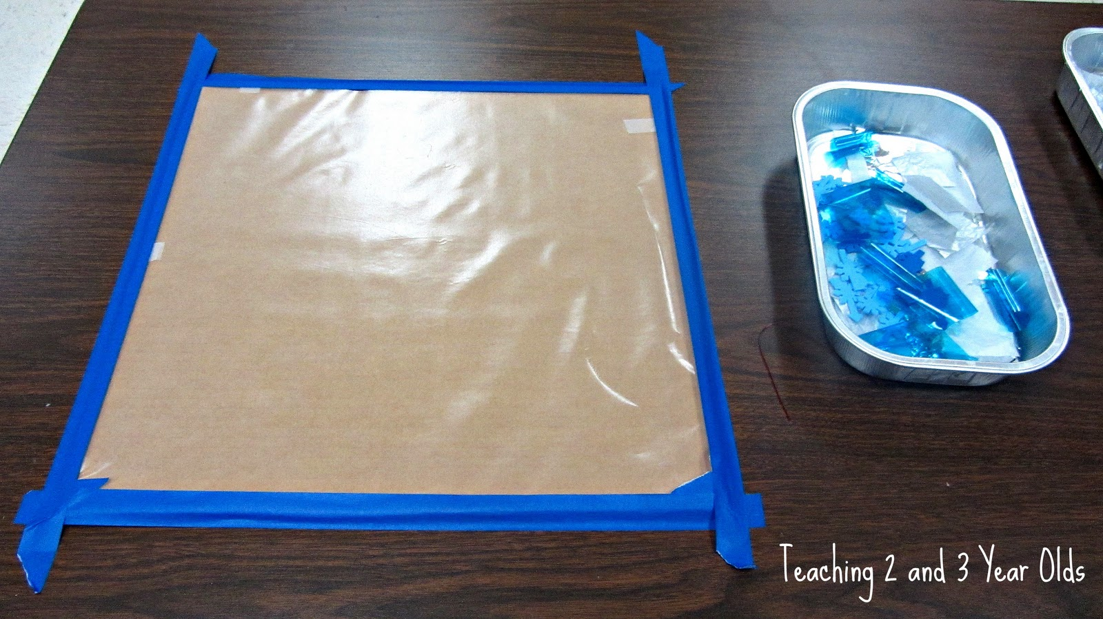 teaching 2 and 3 year olds sticky table sticky wall
