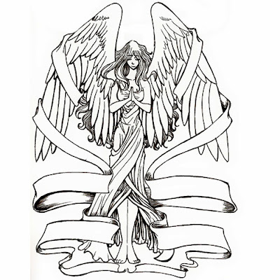 Angel with banner tattoo stencil