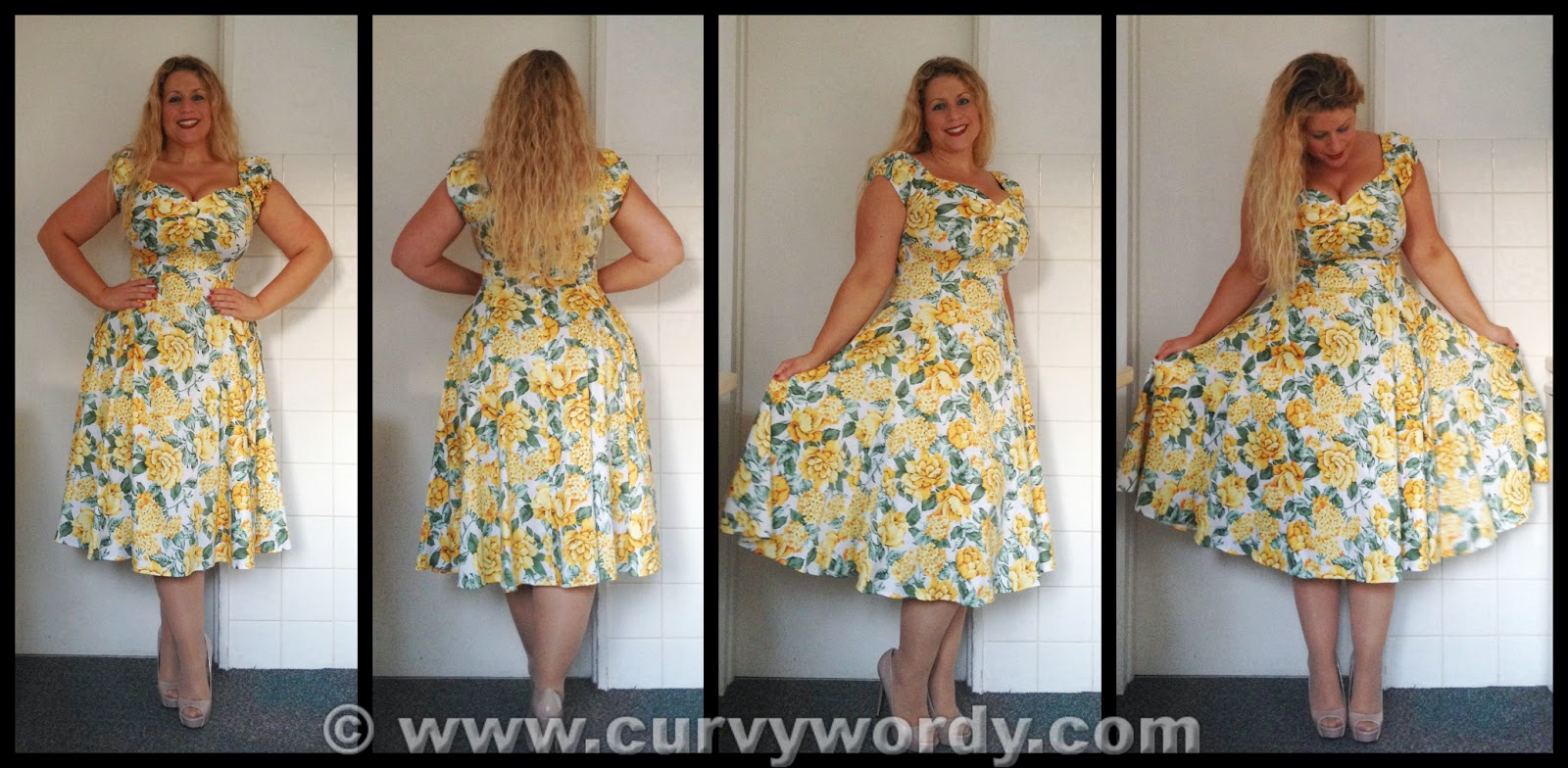 Collectif Dolores Doll Yellow Summer Bouquet Print Dress 12 Medium