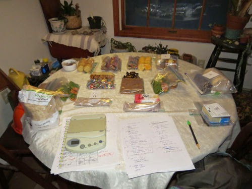 table with backpacking meals being sorted