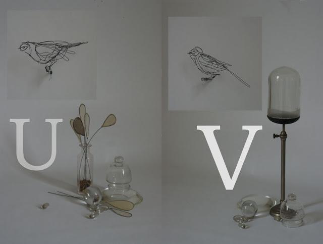 Bird U: 20 x 7,5 x 10 cm, Bird V: 22 x 9 x 11 cm