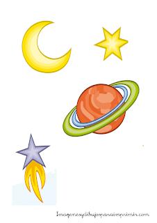 dibujos de estrellas, luna y planetas