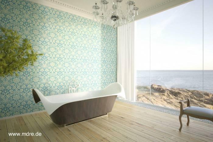 Baños Residenciales Modernos:Bañera de diseño en un cuarto de baño lujoso con una pared de