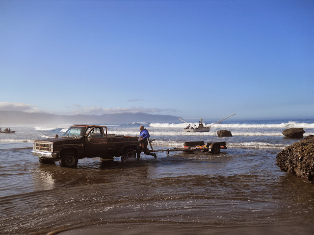 Dory boats launch at Pacific City