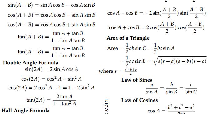 v��d179 brooklyn math tutor trigonometry formula sheet