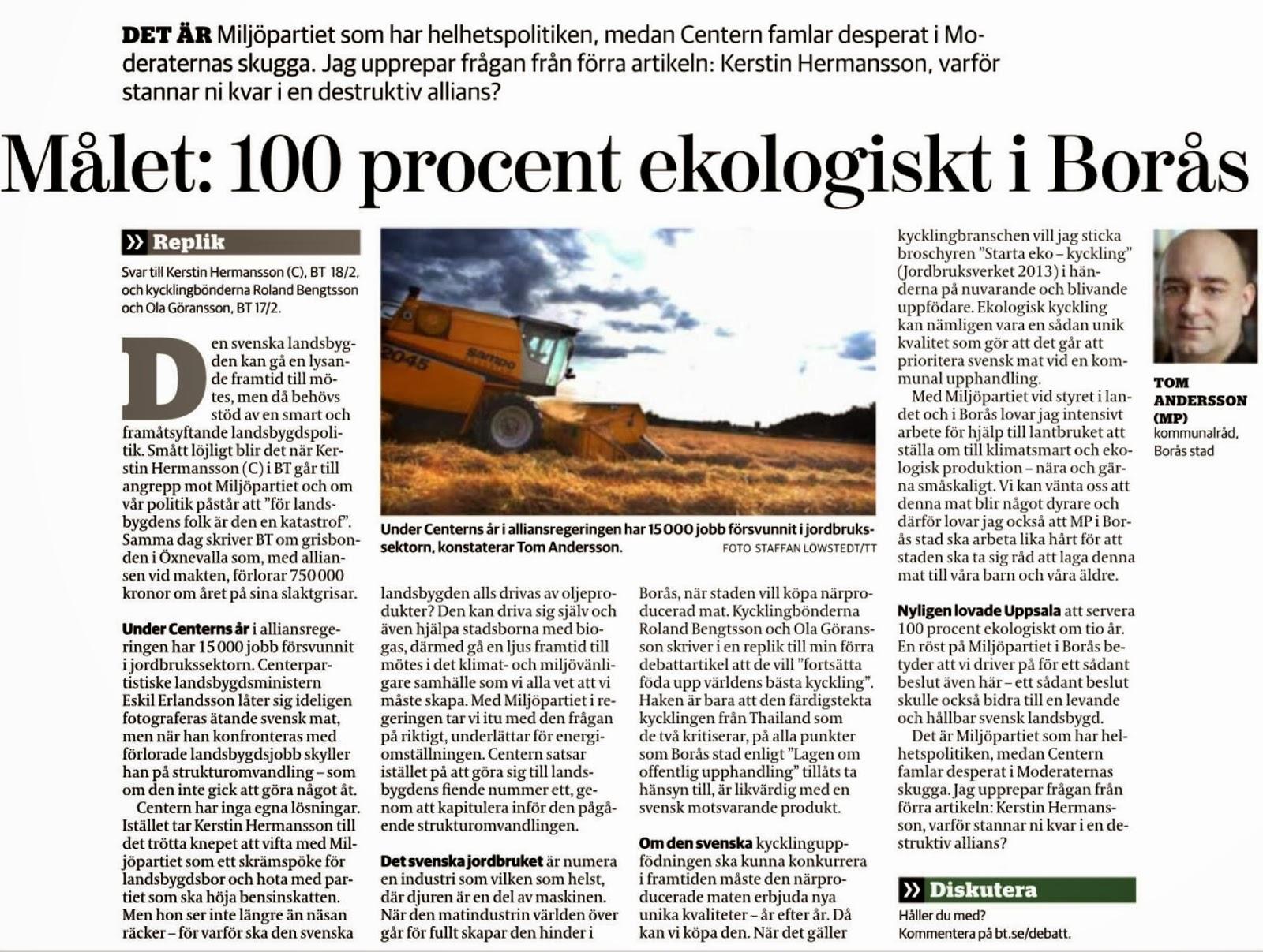 Tom Andersson (mp) svarar: målet är 100 procent ekologiskt