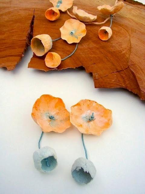 orecchini maxi fatti a mano modello ciliegia, arancio carta da zucchero