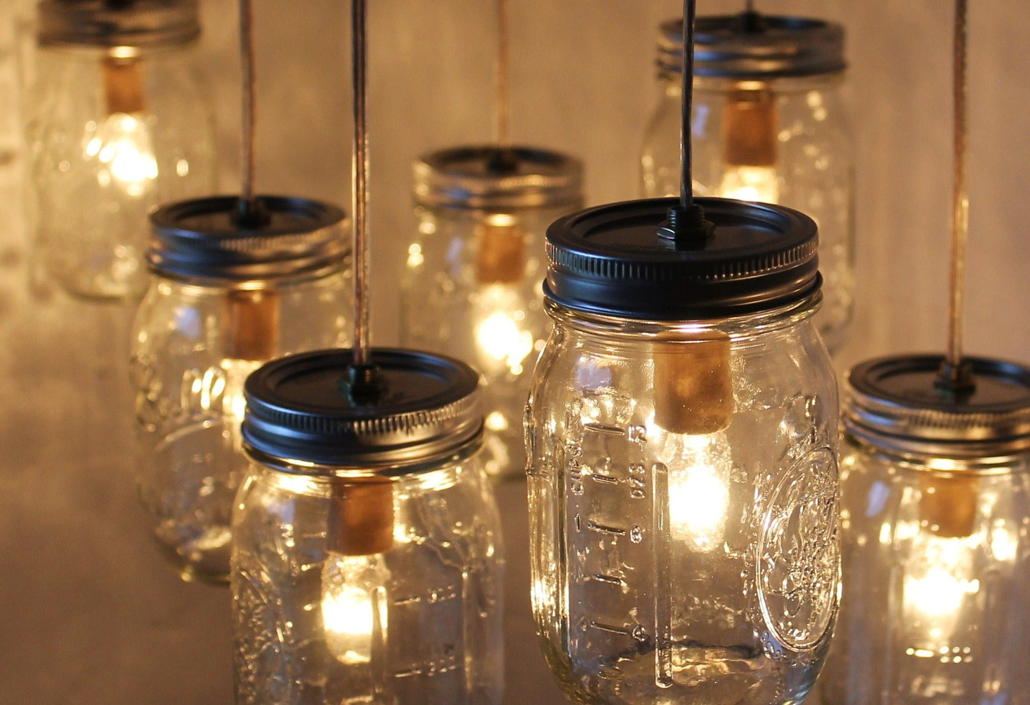 Mason jar archives camp wandawega for Hanging lights made from mason jars