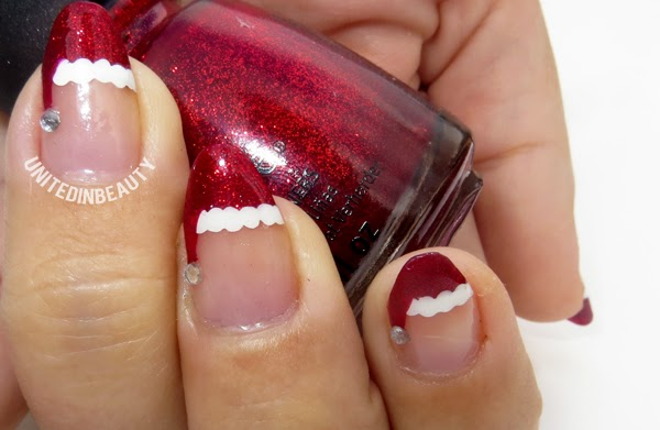 Share your thoughts about Santa hat nail tips. What's your favorite holiday nail  design? - United In Beauty: 12 Days Of Christmas Holiday Manicure Series Day 1