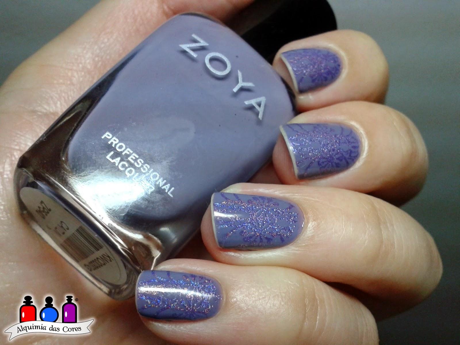 Zoya, Caitlin, lilás, Cremoso, Color Club, Eternal Beauty, Holográfico, esmalte, nail polish, carimbo, carimbada, roxo,