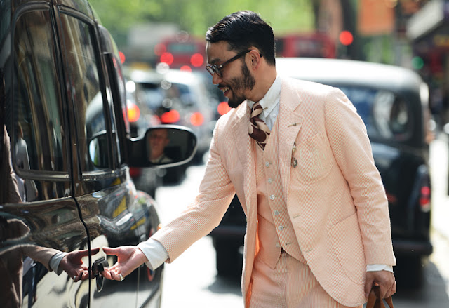 street style london collections men menswear peach suit