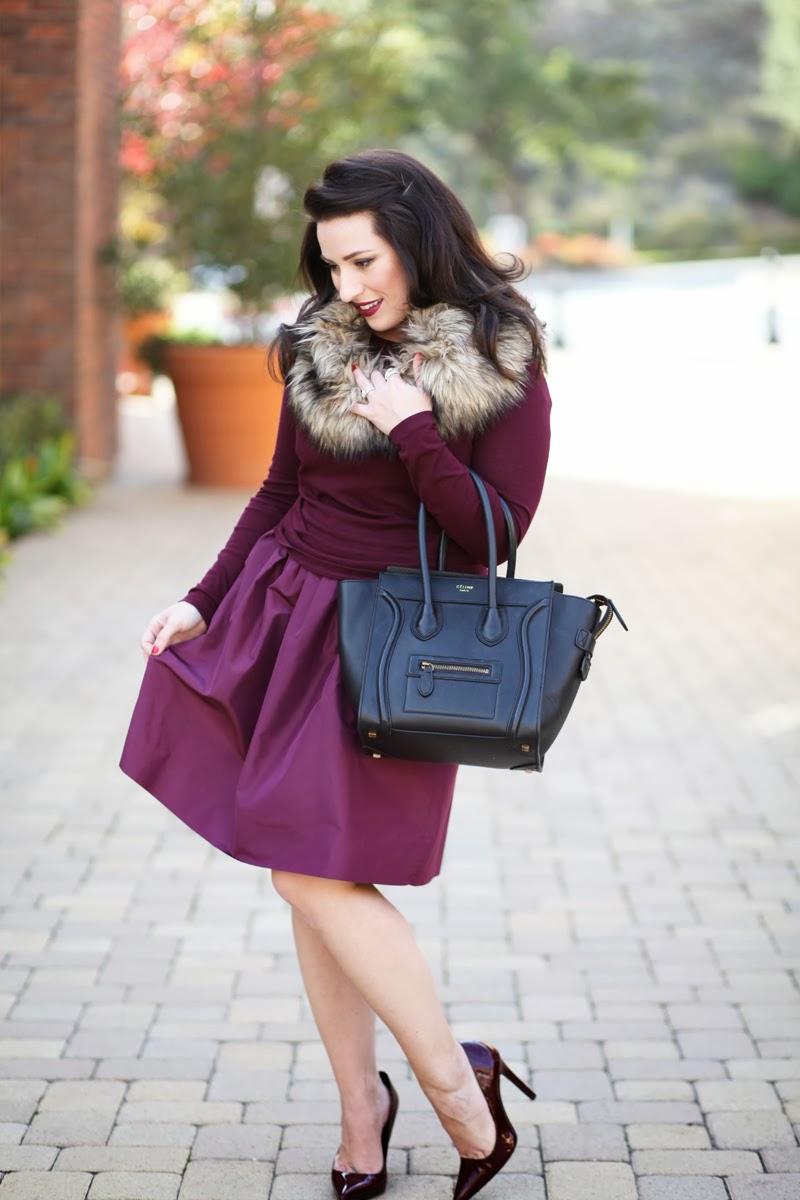 jcrew-bridesmaid-dress-repurposed-purple-holiday-dress-full-skirt-winter-outfit-ideas-king-and-kind-fashion-blogger-celine-black-mini