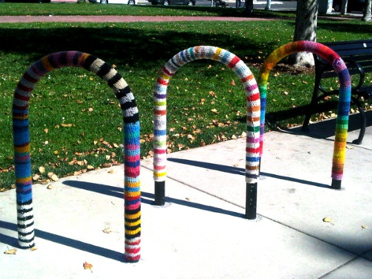 yarn bombed bike racks