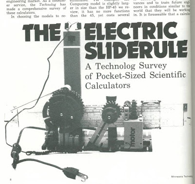 Electric slide rule illustration made out of plastic gears for HP calculator article U of Minn Technolog, Oct. 1973, p 8-12