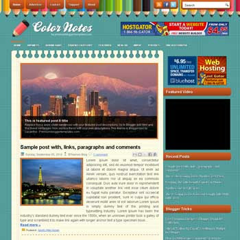 ColorNotes style blog template. template image slider blog. magazine blogger template style