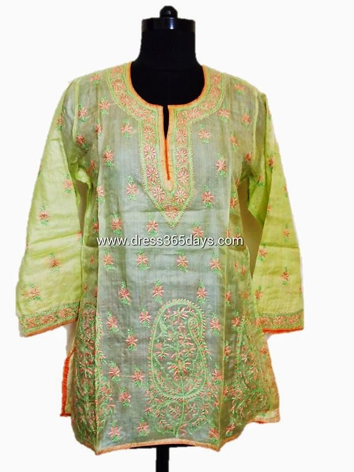 Lime Green Tussar Silk Kurti