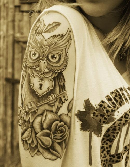 ♥ ♫ ♥ Best Owl  Tattoo On Sleeve ♥ ♫ ♥