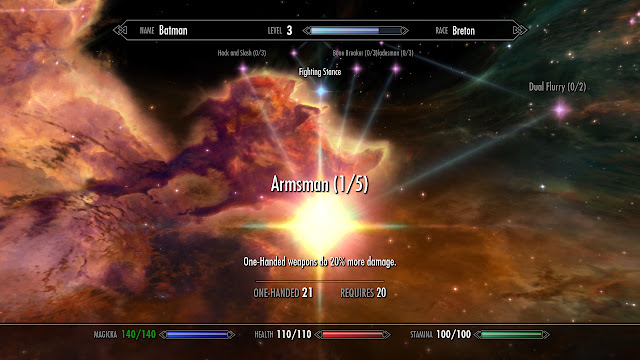 Skyrim one-handed skill tree menu