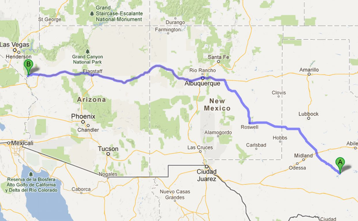 Distance between Albuquerque, NM and San Diego, CA