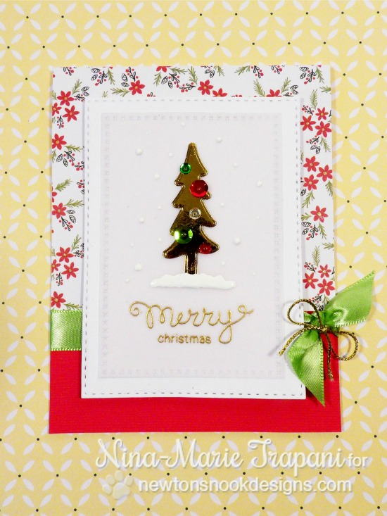 Foiled Die Cut Tree Card by Nina-Marie Trapani | Stamps and dies by Newton's Nook Designs #newtonsnook #holidaycard
