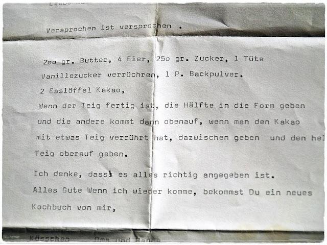 Omas Rezept für Marmorkuchen mit Schreibmaschine geschrieben