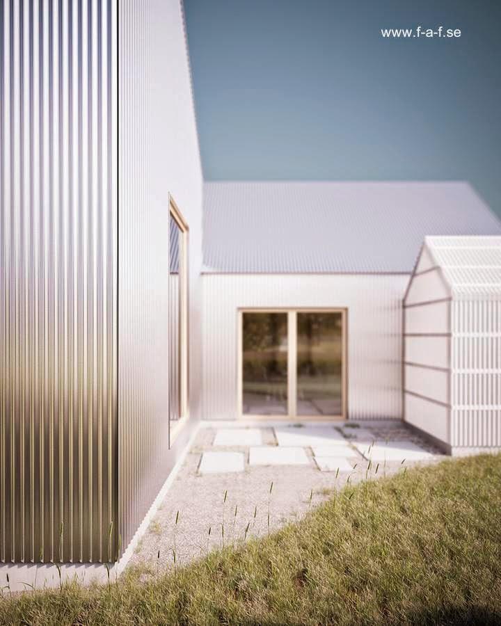 Patio trasero en la moderna casa sueca de madera y aluminio