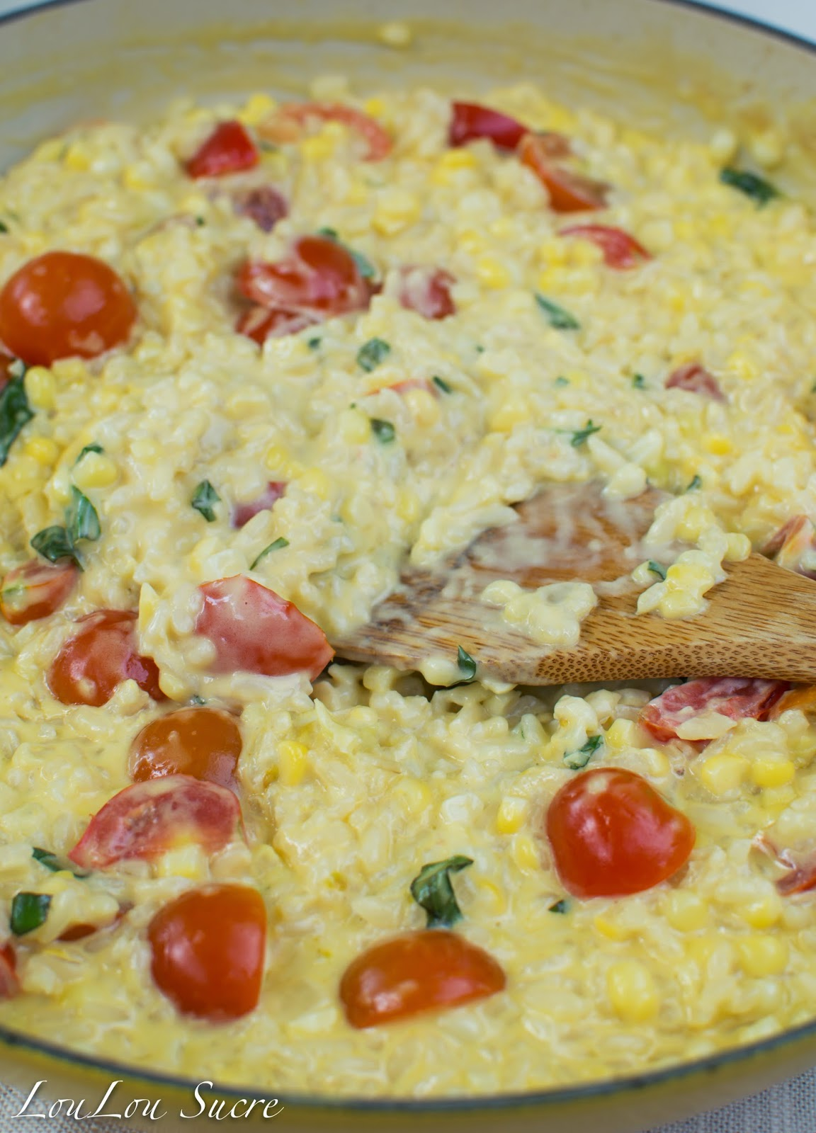 LouLou Sucre: Risotto with Corn, Tomatoes, and Basil