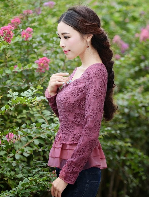 Vintage Long Sleeve Floral Crochet 3 Layer Top