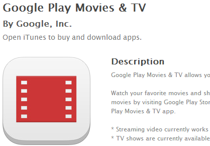 Google Play Movies and TV App in iOS