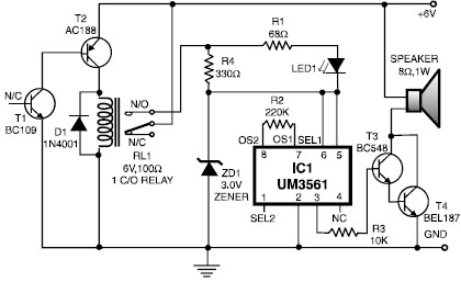 Circuit Project: Heat Detector Alarm using UM3561 - The Circuit