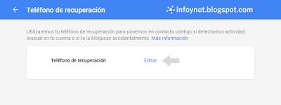 Establecer teléfono de recuperación de una cuenta de Google