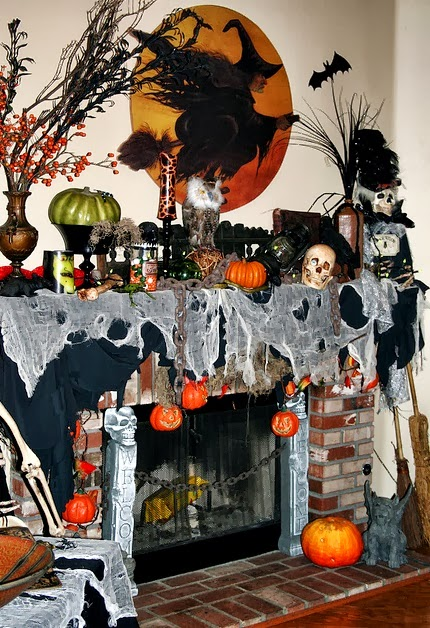 Mini witch and cat pumpkins martha stewart living this for How to decorate your fireplace for halloween