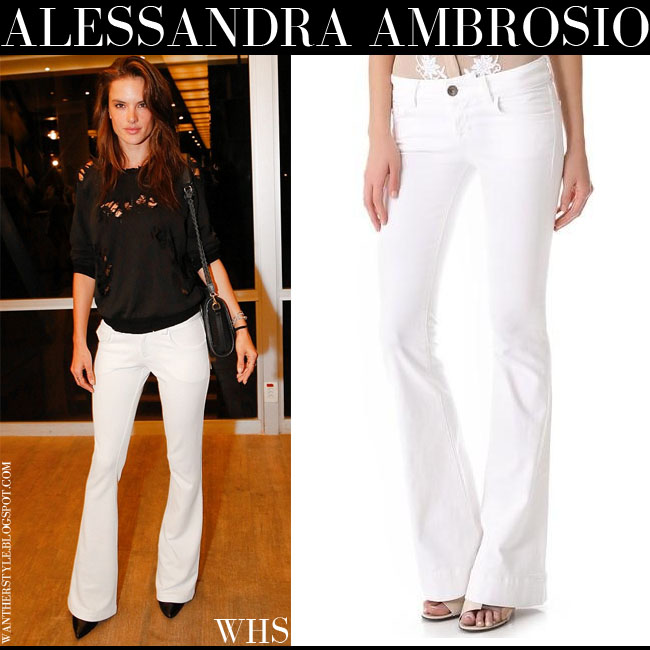 Alessandra Ambrosio in white flare J Brand jeans what she wore june 21 outfit where to buy