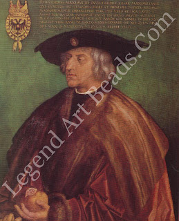 The Emperor's favor The Holy Roman Emperor, Maximilian I, employed Dilrer from 1512 and in 1515 awarded him a pension of 100 florins a year. This portrait was painted after Maximilian's death in 1519. He holds a pomegranate  his own personal symbol of immortality.