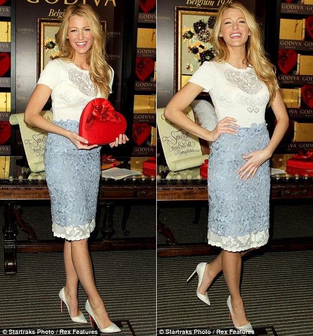 Skirt over dress: Blake was seen launching a competition for Godiva chocolates in New York